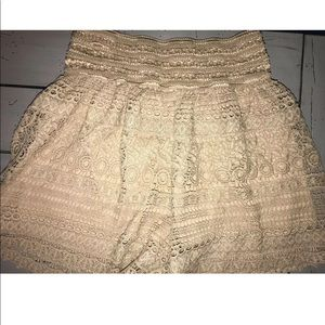 Crochet Shorts Lace lined Tan Taupe Color